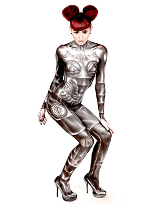 top makeup instructor bodypainter daemon cadman robot bodypaint