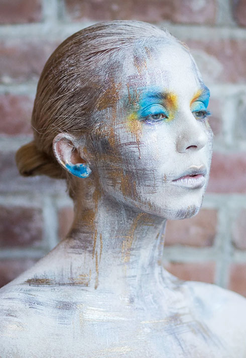 top makeup school graduate eva svobodova brushed bodypaint
