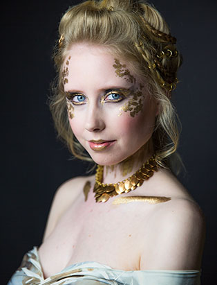 top makeup school graduate eva svobodova gilded gold makeup