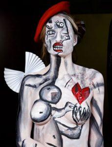 top makeup school graduate eva svobodova paris bodypainting