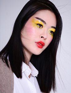 top makeup school graduate eva svobodova yellow eye shadow