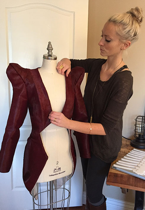 top fashion design graduate kirsten ley making leather jacket