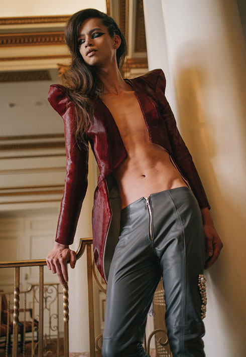 model wearing kristen ley's leather jacket