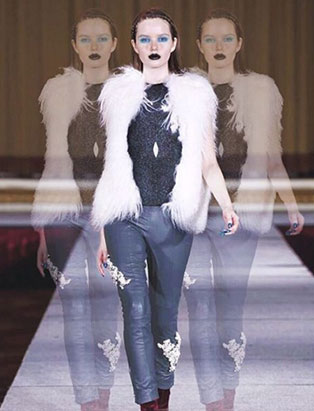 top fashion design graduate kirsten ley runway white fur