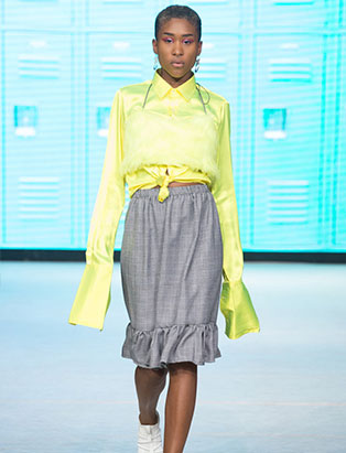 top fashion design graduate alex s yu ss18 vfw lime satin