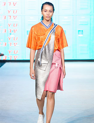 top fashion design graduate alex s yu ss18 vfw neoprene apron