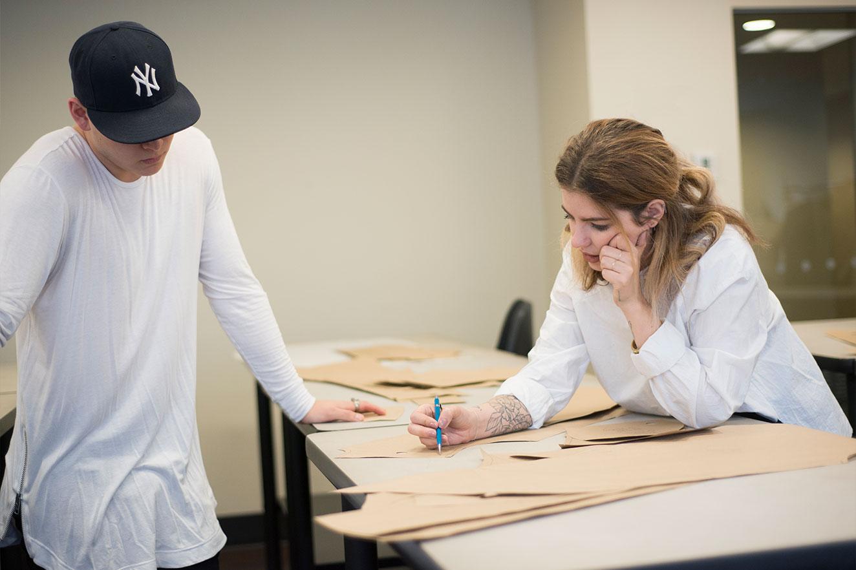 top fashion design school graduate instructor sara armstrong teaching pattern making