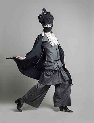 top fashion design school graduate long grey tunic