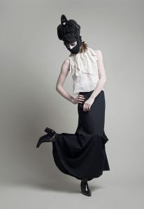 top fashion design graduate sara armstrong long black skirt wool headpiece