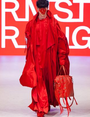 top fashion design school instructor graduate sara armstrong inflated red taffeta coat