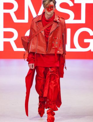 top fashion design school instructor graduate sara armstrong red leather cape