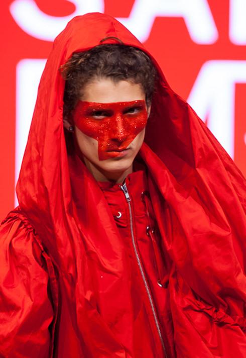 top fashion design school instructor graduate sara armstrong red taffeta jacket