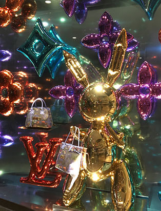 top fashion graduate brian chang visual merchandiser at louis vuitton jeff koons installation