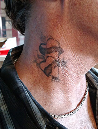 neck tattoo by pepper gallegos
