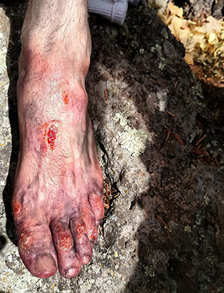 wounded foot makeup effects by pepper gallegos