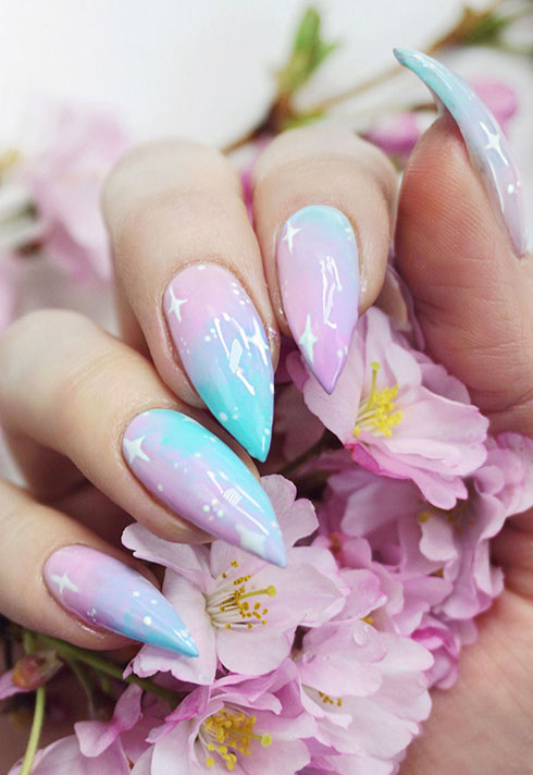 little mythy nail school graduate shiny pastel