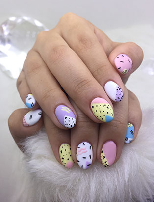 little mythy top nail school graduate 90s design nail art