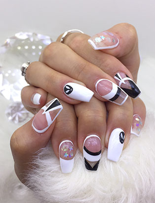 little mythy nails school graduate black white geo nails