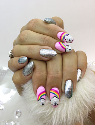 little mythy nails school graduate rainbow nails