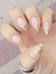 paige roy gold flake french manicure nails