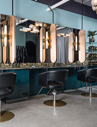 the glamoury luxury styling experience salon stations