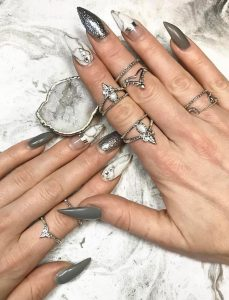 white marble silver nails