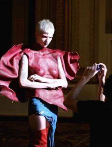 top fashion design graduate kirsten ley leather bodice photograph