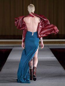 top fashion design graduate kirsten ley runway leather bodice back