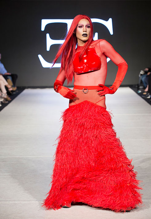 top fashion design school graduate evan clayton vfw jane smoker red feathers