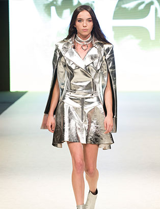 top fashion design school graduate evan clayton vfw metallic bolero