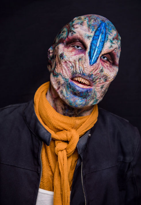 top makeup graduate daniel takahashi blue alien prosthetic