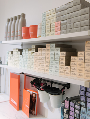 parlour beauty boutique product shelf