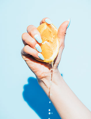 pro nail grad stefania flex summer citrus manicure