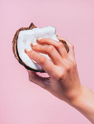 pro nail grad stefania flex summer coconut manicure