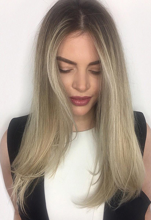 sabrina beltrano hair school dark root blonde