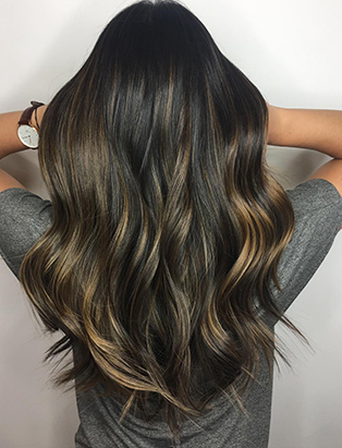 sabrina beltrano dark balayage back view hair school