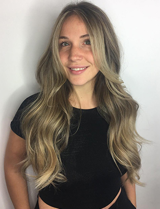 sabrina beltrano hair school smiling blonde