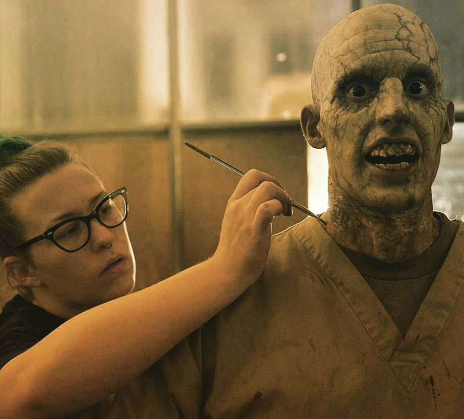 top film makeup graduate cayley giene painting zombie character