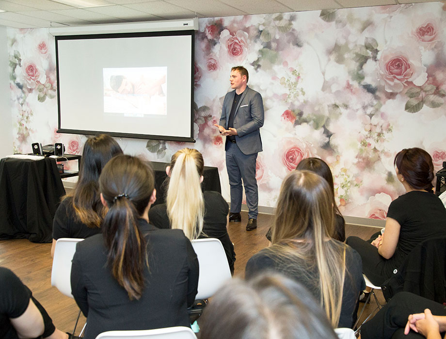 top esthetics graduate spa owner doug janczyn speaks to blanche students