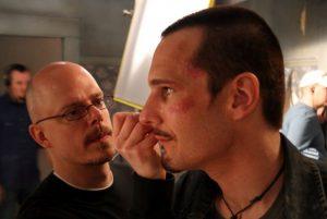 doug morrow applying makeup to michael eklund