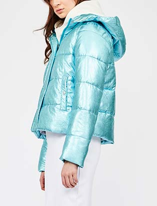 Hilary MacMillan, baby blue, puffer, jacket