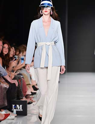 Hilary MacMillan, catwalk, pale blue tunic, white trousers