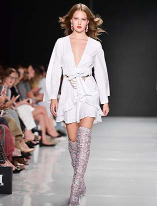 Hilary MacMillan, runway, white dress, boots