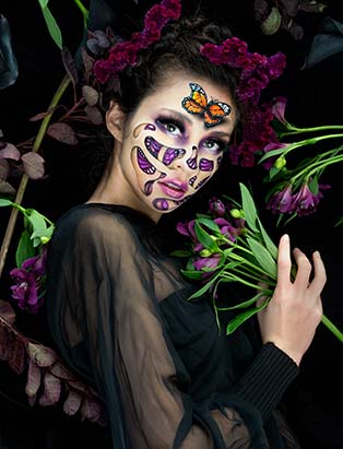 Mimi Choi,IMATS,Blanche Macdonald, demo, butterfly, makeup, floral