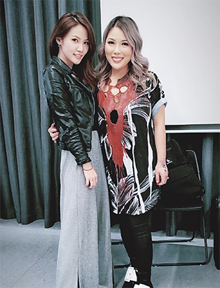 sunny lee posing with mimi choi makeup graduate blanche macdonald centre