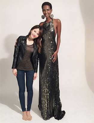 bmc graduate mua sunny lee standing with tall model