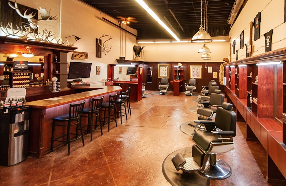 interior of Sakatchewan's Bourbon Barbershop BMC Cody Dunbar Blanche Macdonald Hair School Graduate