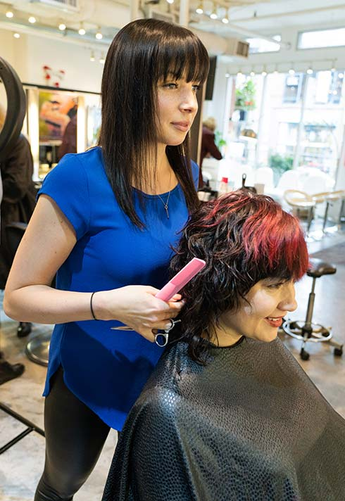 Stacey Paskall, Blanche MacDonald, grad, hairstyling, hairstylist, Avant Garde Salon, client, happy, salon