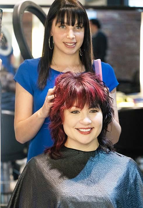 Stacey Paskall, Blanche MacDonald, grad, hairstyling, hairstylist, Avant Garde Salon, client, happy, salon
