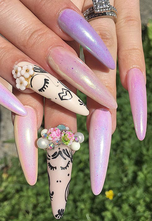 long pink and artistic nails by Blanche Macdonald Nail Studio graduate Alejandra Ramazzini